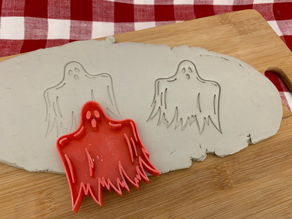 Pottery Stamp, Halloween Ghost design, Fondant, Clay, Leather, Pottery Tool, plastic 3d printed, multiple sizes available
