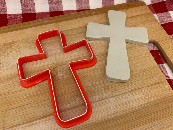 "Cookie / Clay Cutter, Cross design, Fondant, Clay, Pottery Tool choose size up to 16"" wide, extra large cutters"