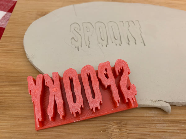 "Pottery Stamp, Halloween ""SPOOKY"" word design, Fondant, Clay, Leather, Pottery Tool, plastic 3d printed, multiple sizes available"
