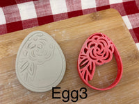 Pottery Stamp, Easter egg designs, with optional cookie cutter ornament, Cookie Dough, Clay, Pottery Tool, plastic 3d printed, each or set
