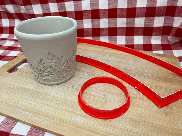 "Cookie / Clay Cutter, Mug template design, 3.25"" base x 4"" tall x 4"" top, Clay, Hand building Pottery Tool, slab building"