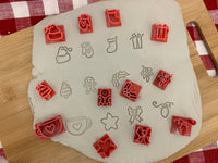 Pottery Stamp, Christmas casual Mini designs, Each or Set, Fondant, Cookie Dough, Clay, Leather, Pottery Tool, plastic 3d printed