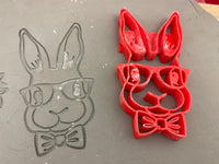 Pottery Stamp, Bunny face with Bowtie or floral wreath design, each or set, Fondant, Clay, Leather, Pottery Tool, plastic 3d printed, Easter, rabbit