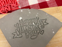 "Pottery Stamp, ""Happy Valentine's  Day"" word design, Fondant, Clay, Leather, Pottery Tool, plastic 3d printed, multiple sizes available"