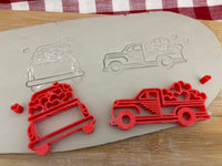 Pottery Stamp, Vintage Truck with hearts design, Fondant, Cookie Dough, leather, Clay, Pottery Tool, plastic 3d printed, multiple sizes available