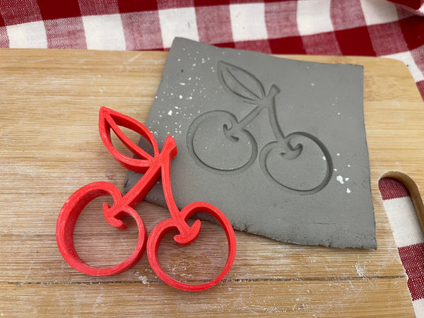 Pottery Stamp, Cherry design, Fondant, Cookie Dough, leather, Clay, Pottery Tool, plastic 3d printed, multiple sizes available, Cherries