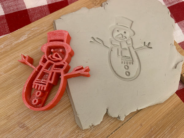 Pottery Stamp, Snowman design, Fondant, Cookie Dough, Clay, Leather, Pottery Tool, plastic 3d printed, multiple sizes available