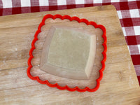 "Cookie / Clay Cutter, Scalloped Spherical Square, Fondant, Clay, Pottery Tool, choose size up to 14"", large cutters"