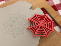 Pottery Stamp, Halloween Spider or Web design, Fondant, Clay, Leather, Pottery Tool, plastic 3d printed, multiple sizes available