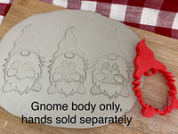 Pottery Stamp, Generic Gnome, with optional cookie cutter ornament, Cookie Dough, Clay, Pottery Tool, plastic 3d printed
