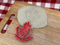 Pottery Stamp, Chicken design, Fondant, Cookie Dough, leather, Clay, Pottery Tool, plastic 3d printed, multiple sizes available