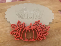 Pottery Stamp, Fall pumpkin w/ leaves design, Fondant, Clay, Leather, Pottery Tool, plastic 3d printed, multiple sizes