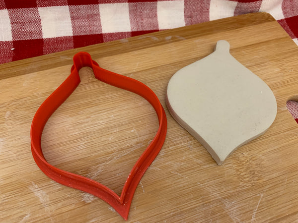 Cookie / Clay Cutter, Christmas Teardrop Ornament design, Fondant, Clay, Pottery Tool, multiple sizes available