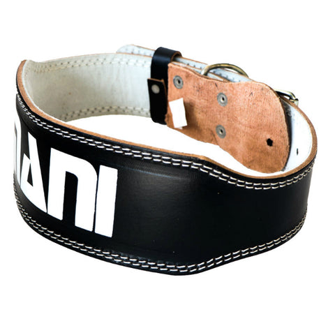 "MANI SPORTS LEATHER 4"" WEIGHTLIFTING BELT"