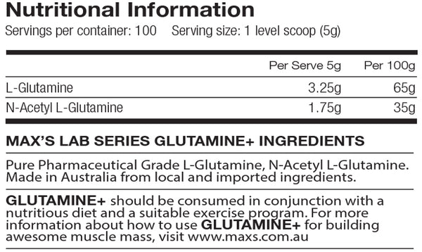 MAX'S LABS SERIES GLUTAMINE PLUS
