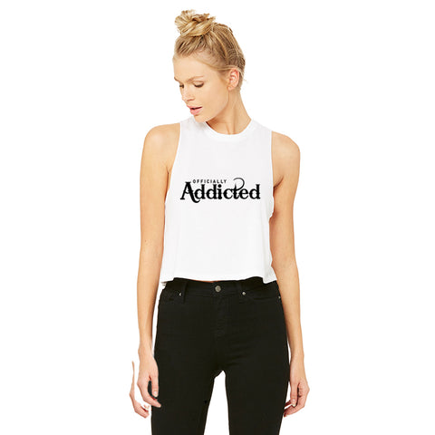 OFFICIALLY ADDICTED GATHERED RACERBACK TANK | BLACK & HOT PINK