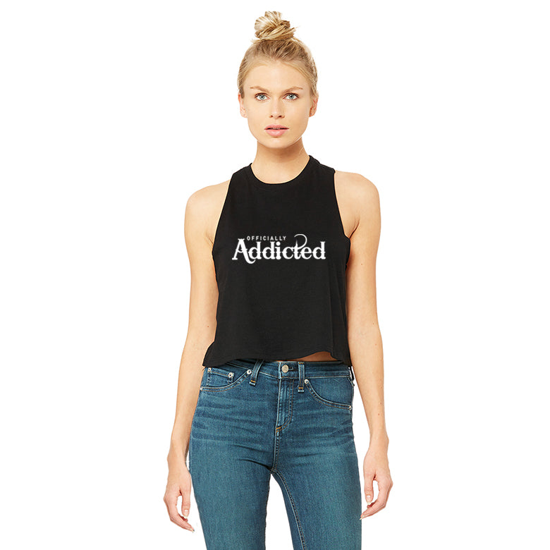 OFFICIALLY ADDICTED CROP TANK | BLACK & WHITE