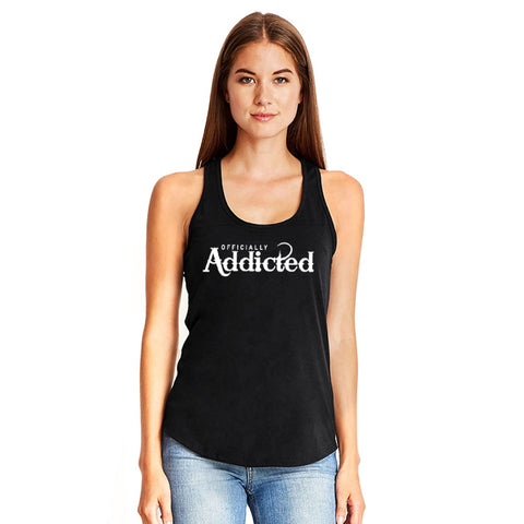 OFFICIALLY ADDICTED CROP TANK | WHITE & BLACK
