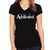 OFFICIALLY ADDICTED WOMEN'S S/S VNECK TEE | BLACK