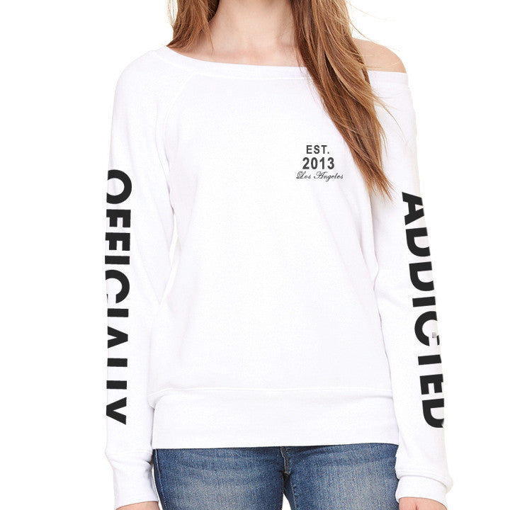 OFFICIALLY ADDICTED OFF-SHOULDER SWEATSHIRT | WHITE