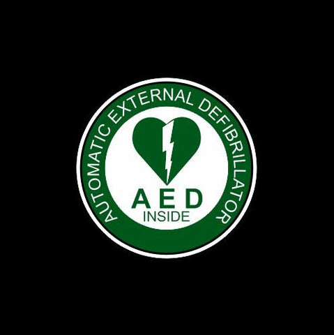 Green AED automated external defibrillator inside
