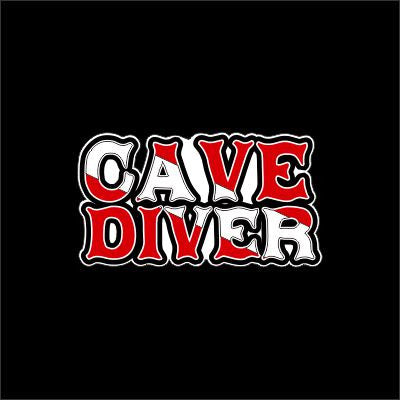 Cave Diver words scuba flag sticker