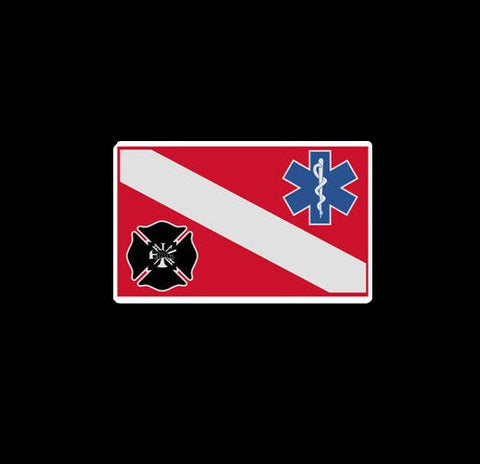 Fire Department EMS Dive Flag Decal 4""
