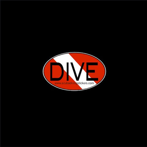 Dive on scuba flag oval sticker