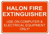 Halon Fire Extinguisher Sign