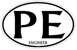 Professional Engineer Oval decal PE