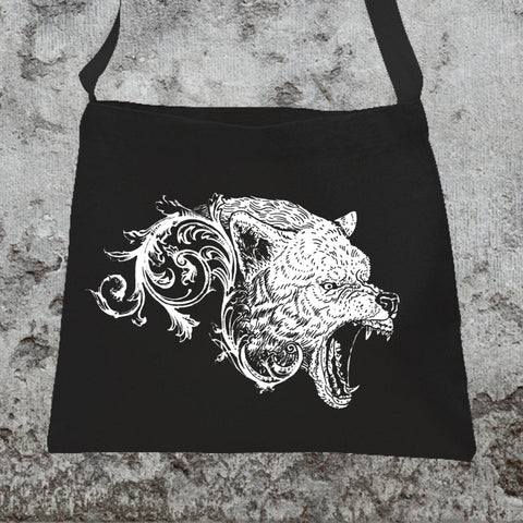 Wolf Filigree Messenger Tote