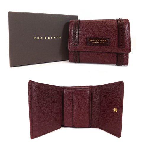 The Bridge Leather Wallet Purse - Style: 0180084O Burgundy