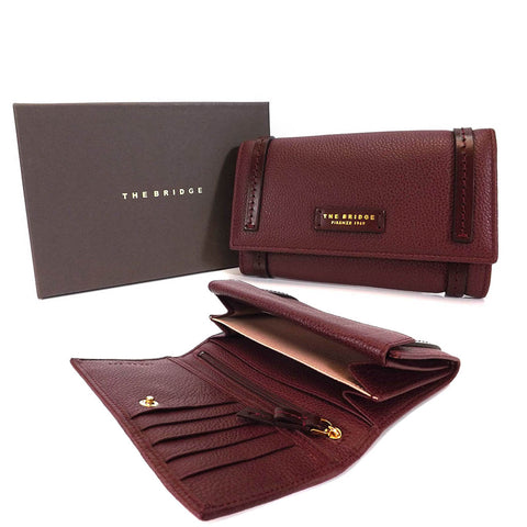 The Bridge Large Leather Wallet Purse - Style: 0180284O Burgundy