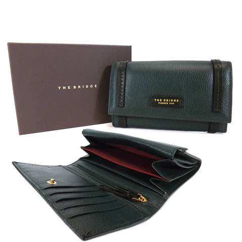 The Bridge Large Leather Wallet Purse - Style: 0180284O Green