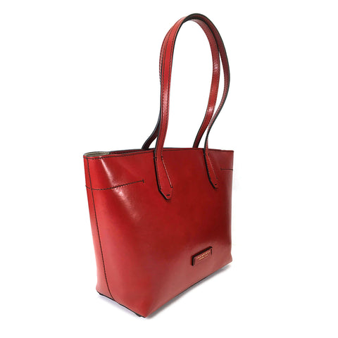 The Bridge Zip Top Shopper Tote Bag - Style: 04361001 - Red