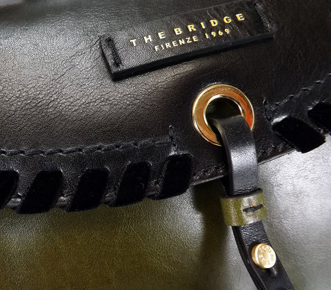 The Bridge Leather Large Multi Way - Flap over bag - Black / Green - Style: 0469398E