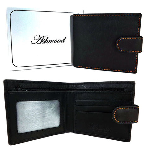 Ashwood Classic Leather Tab Wallet - Style: 1222-D Black