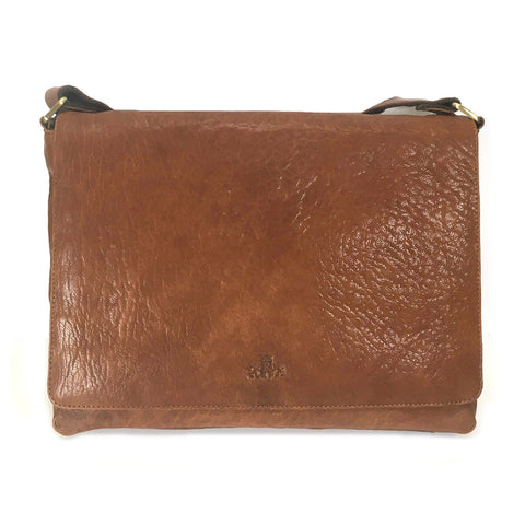 Rowallan Veneer Leather Messenger Bag - Style 31-1423  Tan