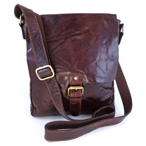 Rowallan Bronco Leather Messenger Cross Body Bag - Style 31-6512  Brown
