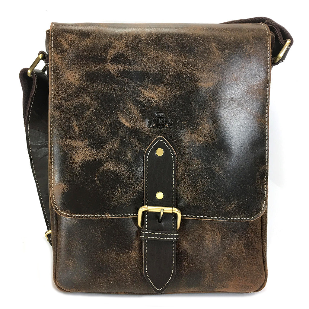 Rowallan Brushwood Leather Messenger Bag - Style 31-9243  Brown