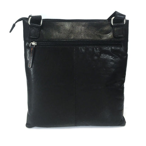 Rowallan Espana Large Leather Messenger Cross Body Bag - Style: 31-9794  Black