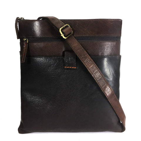 Rowallan Espana Large Leather Messenger Cross Body Bag - Style: 31-9794  Brown