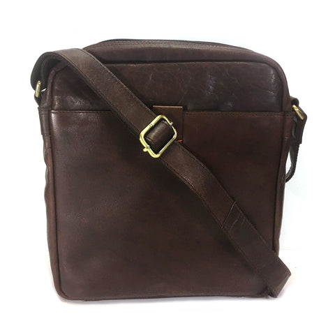 Rowallan Espana Leather Messenger Cross Body Bag - Style: 31-9796  Brown