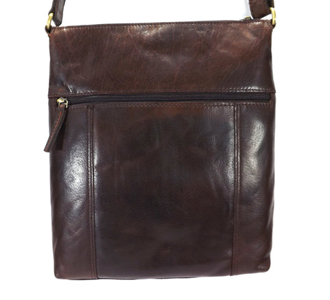 Rowallan Espana Large Leather Messenger Cross Body Bag - Brown - Style: 31-9791