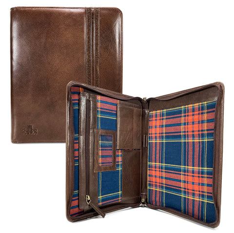 Rowallan Prado A4 Zip Round Leather Conference Folio - Style: 33-1276  Brown