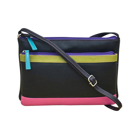 ili New York Leather Cross Body Bag RFID Protected - Style: 6028 - Black Brights