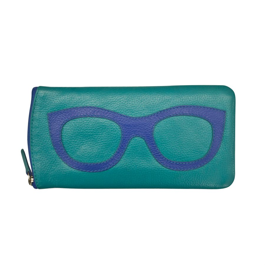 ili New York Leather Glasses Case - Style: 6462 - Aqua/Cobalt