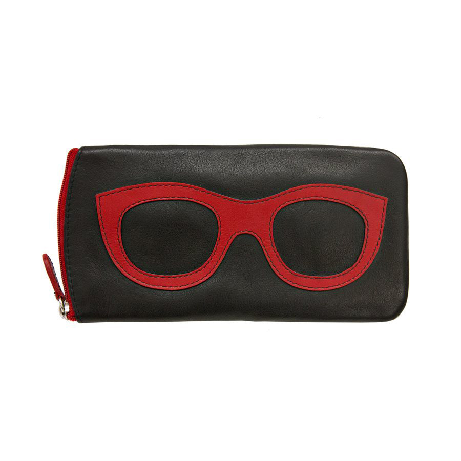 ili New York Leather Glasses Case - Style: 6462 Black/Red