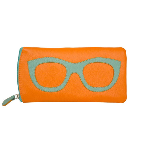ili New York Leather Glasses Case - Papaya / Turquoise