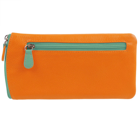 ili New York Leather Glasses Case - Style: 6462 - Papaya/Turquoise
